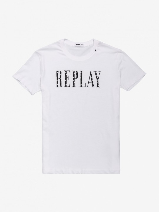 Replay Crewneck Writing T-Shirt