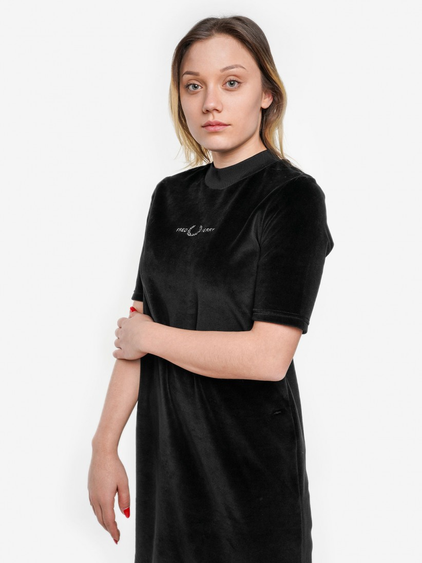Fred Perry Velour Embroidered Dress