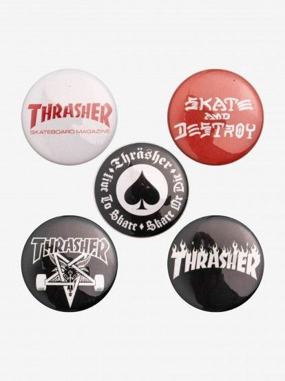 Thrasher Logo Button Pins